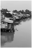 Stilt houses. Mekong Delta, Vietnam ( black and white)