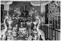 Altar of King Hung Vuong temple, Tao Dan park. Ho Chi Minh City, Vietnam ( black and white)