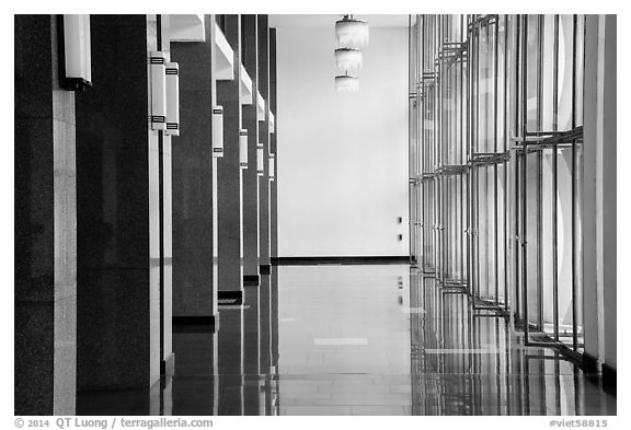 Corridor with shiny floor, Reunification Palace. Ho Chi Minh City, Vietnam (black and white)