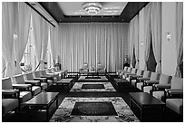 Vice-President Reception salon, Independence Palace. Ho Chi Minh City, Vietnam ( black and white)
