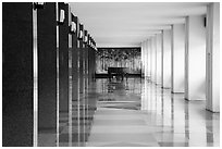 Corridor, piano, and reflections, Reunification Palace. Ho Chi Minh City, Vietnam ( black and white)