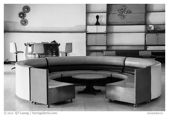 Game room, Independence Palace, Reunification Palace. Ho Chi Minh City, Vietnam (black and white)