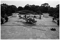 Terrace with helicopter, Reunification Palace. Ho Chi Minh City, Vietnam ( black and white)