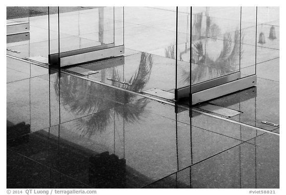 Terrace door reflections, Independence Palace. Ho Chi Minh City, Vietnam (black and white)