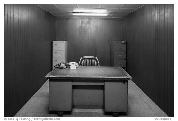 Military command room, Reunification Palace. Ho Chi Minh City, Vietnam (black and white)