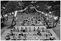 Worshippers from above, Viet Nam Quoc Tu pagoda, District 10. Ho Chi Minh City, Vietnam ( black and white)