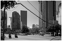 Statue of hero Tran Hung Dao and high-rises. Ho Chi Minh City, Vietnam ( black and white)