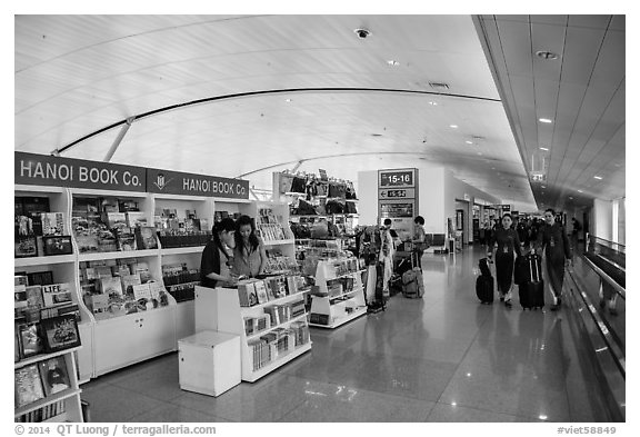 Inside terminal, Tan Son Nhat International Airport. Ho Chi Minh City, Vietnam (black and white)