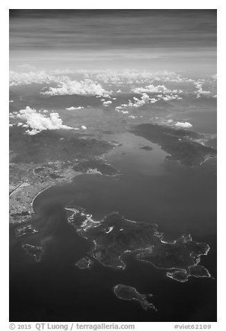 Aerial view of Hon Tre Island and Nha Trang. Vietnam (black and white)
