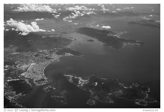Aerial view of Nha Trang Bay. Vietnam (black and white)