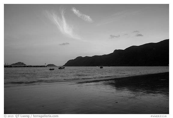 An Hai Beach and Con Son Bay at sunset. Con Dao Islands, Vietnam (black and white)
