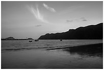 An Hai Beach and Con Son Bay at sunset. Con Dao Islands, Vietnam ( black and white)