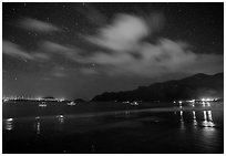 An Hai Beach and pier at night, Con Son. Con Dao Islands, Vietnam ( black and white)