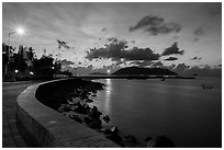 Con Son seafront at dawn. Con Dao Islands, Vietnam ( black and white)