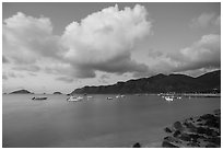 Harbor at dawn, Con Son. Con Dao Islands, Vietnam ( black and white)