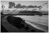 Seafront and Wharf 914 before sunrise, Con Son. Con Dao Islands, Vietnam ( black and white)