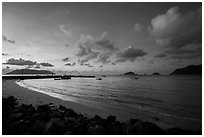Harbor and Con Son Bay before sunrise. Con Dao Islands, Vietnam ( black and white)