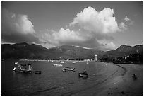 Con Son harbor and hills. Con Dao Islands, Vietnam ( black and white)