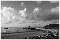 Con Son Beach and Wharf 914. Con Dao Islands, Vietnam ( black and white)