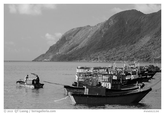 Fishing boats and hills, Con Son. Con Dao Islands, Vietnam (black and white)