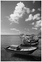Fishing boats, Con Son. Con Dao Islands, Vietnam ( black and white)