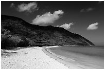 White sand on Cat Lon Beach, Bay Canh Island, Con Dao National Park. Con Dao Islands, Vietnam ( black and white)
