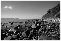 Rocky coastline, Bay Canh Island, Con Dao National Park. Con Dao Islands, Vietnam ( black and white)