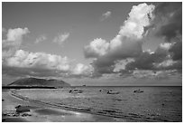 Harbor, afternoon, Con Son. Con Dao Islands, Vietnam ( black and white)