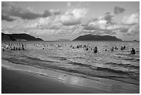 Popular main beach, Con Son. Con Dao Islands, Vietnam ( black and white)