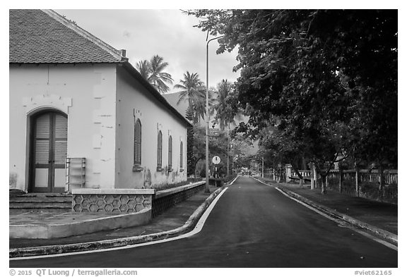 Old custom house and street, Con Son. Con Dao Islands, Vietnam (black and white)