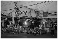 Con Dao market at dusk, Con Son. Con Dao Islands, Vietnam ( black and white)