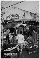 Market at dusk, Con Son. Con Dao Islands, Vietnam ( black and white)