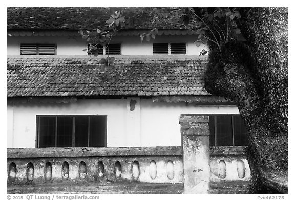 Close-up of historic building, Con Son. Con Dao Islands, Vietnam (black and white)