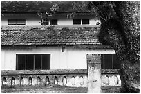 Close-up of historic building, Con Son. Con Dao Islands, Vietnam ( black and white)
