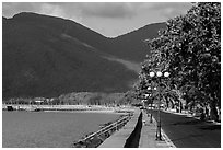 Seafront and hills, Con Son. Con Dao Islands, Vietnam ( black and white)