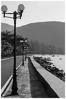 Con Son Seafront promenade. Con Dao Islands, Vietnam ( black and white)