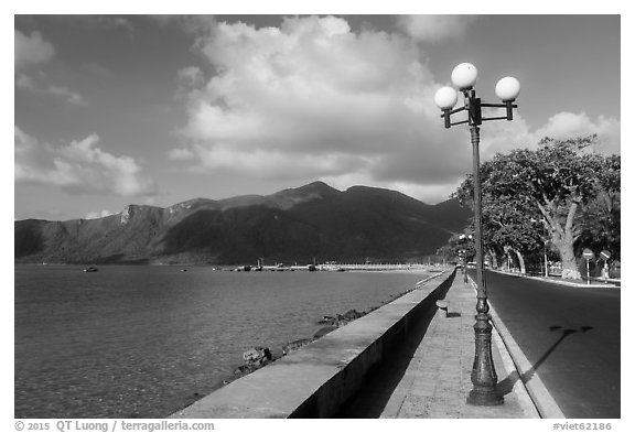 Deserted seafront street, Con Son. Con Dao Islands, Vietnam (black and white)