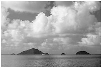 Tropical clouds above Bay Canh Island and other islets. Con Dao Islands, Vietnam ( black and white)