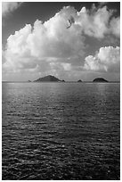Con Son Bay with islets and clouds. Con Dao Islands, Vietnam ( black and white)