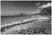 Coastline with turquoise water. Con Dao Islands, Vietnam ( black and white)