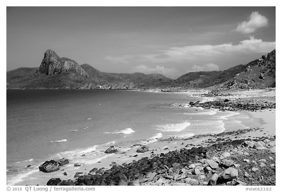 Turquoise water and Ba Island. Con Dao Islands, Vietnam (black and white)