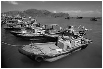Ben Dam fishing harbor. Con Dao Islands, Vietnam ( black and white)