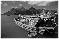 Wooden fishing boats in Ben Dam harbor. Con Dao Islands, Vietnam ( black and white)