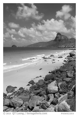 Nhat Beach and Ba Island. Con Dao Islands, Vietnam (black and white)