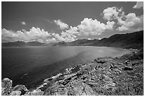 Con Son Bay from Chim Chim Cape. Con Dao Islands, Vietnam ( black and white)