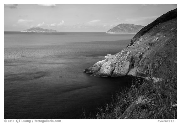 Cau Islet, Bay Canh Island, and Tau Be Cape. Con Dao Islands, Vietnam (black and white)