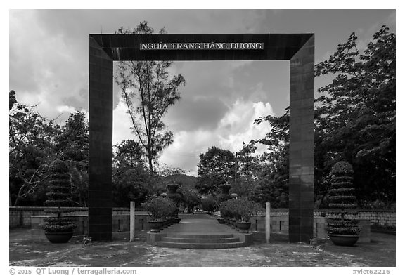 Monumental gate to Hang Duong Cemetery. Con Dao Islands, Vietnam (black and white)