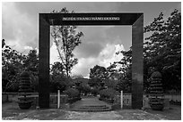 Monumental gate to Hang Duong Cemetery. Con Dao Islands, Vietnam ( black and white)