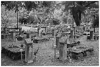 Graves memorializing independence fighters who died in jail. Con Dao Islands, Vietnam ( black and white)