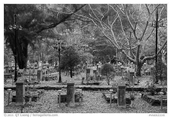 Graves, Hang Duong Cemetery. Con Dao Islands, Vietnam (black and white)